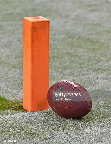 A general view of a football and pylon on the field prior to a game between the Kansas City Chiefs and Jacksonville Jaguars on October 7 2018 at...