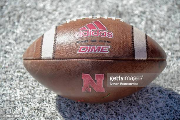 General view of a football before the game between the Nebraska Cornhuskers and the Minnesota Golden Gophers at Memorial Stadium on October 20 2018...