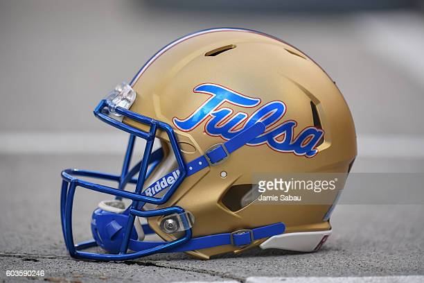 A general view of a football helmet from the Tulsa Hurricane during a game against the Ohio State Buckeyes at Ohio Stadium on September 10 2016 in...
