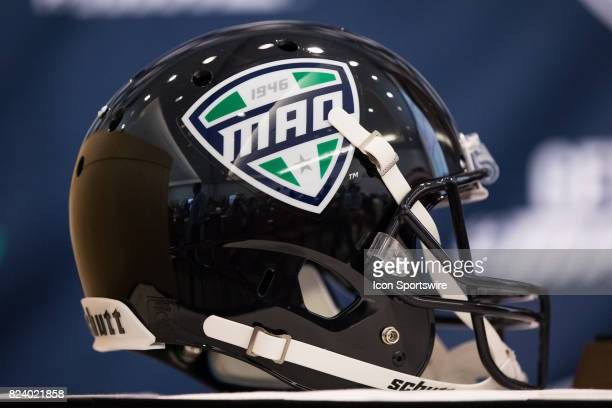 A general view of a football helmet with the MAC logo on display during the MidAmerican Conference football media day on July 26 2017 at the Pro...