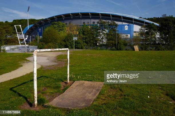 General view of a football pitch beside the John Smith's Stadium ahead of the Brexit Party rally on May 13 2019 in Huddersfield England Nigel Farage...