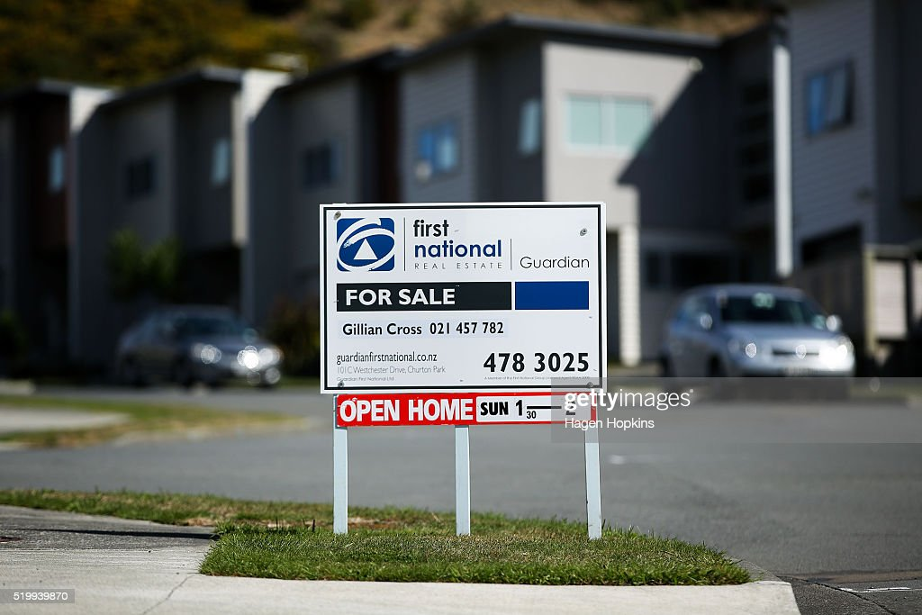A general view of a 'for sale' sign in the suburb of Churton Park on April 9, 2016 in Wellington, New Zealand. Increased demand for property in Wellington has seen house prices increase by 7.5 per cent in the past year. The average value of a house in the Wellington region is now $491,236, up 3.1 per cent over the past three months.
