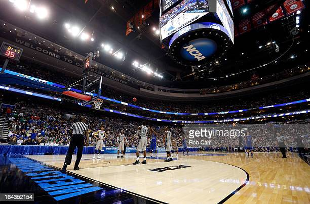 A general view of a free throw attempt by the Florida Gulf Coast Eagles against the Georgetown Hoyas during the second round of the 2013 NCAA Men's...