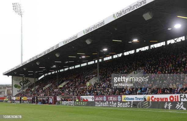 A general view of a full stadium during the Premier League match between Burnley FC and AFC Bournemouth at Turf Moor on September 22 2018 in Burnley...