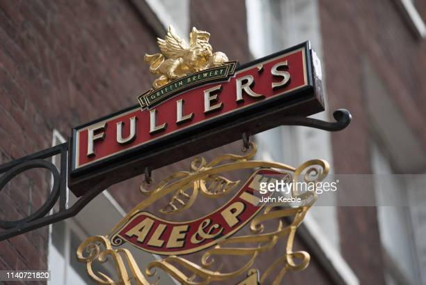 A general view of a Fuller's Griffin Brewery pub sign on April 5 2019 in London England