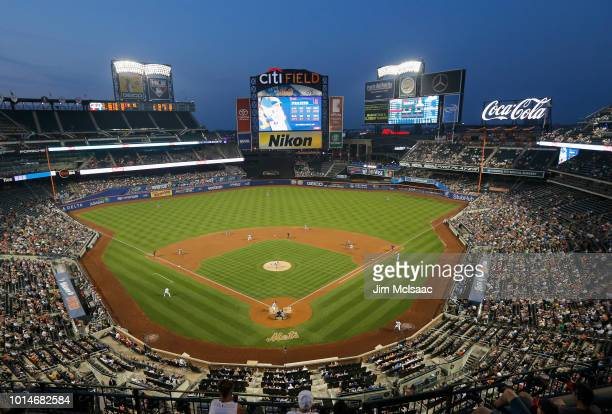 A general view of a game between the New York Mets and the Cincinnati Reds at Citi Field on August 6 2018 in the Flushing neighborhood of the Queens...