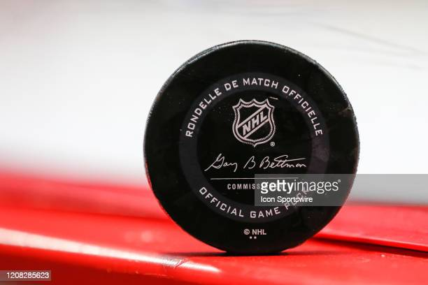 General view of a game puck that was hit into the stands is seen during a regular season NHL hockey game between the Carolina Hurricanes and the...