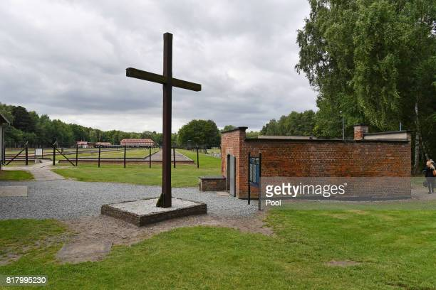 A general view of a gas chamber and memorial as Prince William Duke of Cambridge and Catherine Duchess of Cambridge visit the former Nazi German...