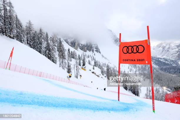 General view of a gate panel on the course following the postponement of the FIS World Ski Championships Women's Super Giant Slalom at Olympia delle...