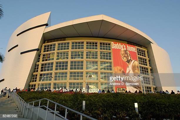 General view of a giant banner of Shaquille O'Neal of the Miami Heat as it hangs outside American Airlines Arena before the game against the New York...
