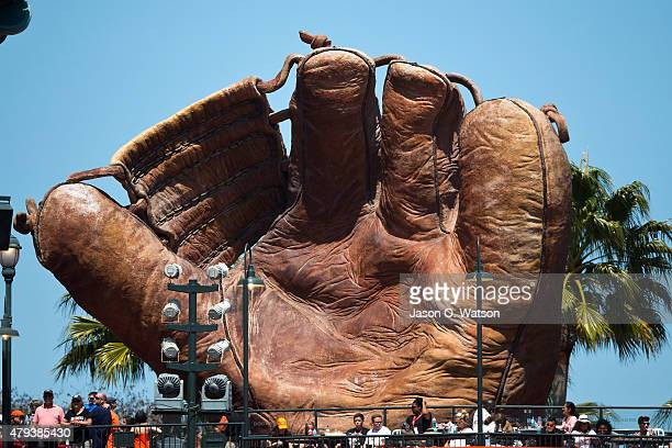 General view of a giant baseball glove in the outfield at ATT Park during the seventh inning between the San Francisco Giants and the San Diego...
