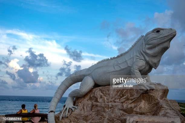 A general view of a giant Iguana sculpture in Garrafon Reef Park in Punta Sur on September 27 2018 in Isla Mujeres Mexico Punta Sur is located at the...