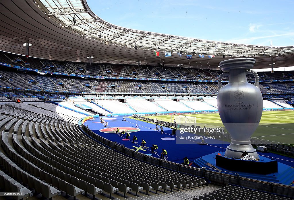 General view of a giant inflatable trophy ahead of the UEFA