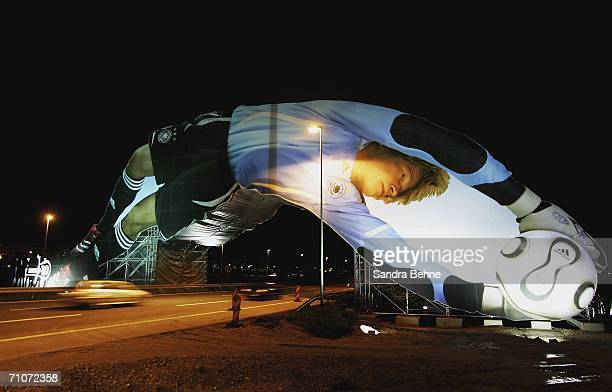 A general view of a giant poster of German National Goalkeeper Oliver Kahn at the Munich Airport on May 27 2006 in Munich Germany The 65 meter long...