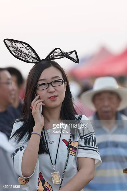 A general view of a girl in 2014 Zhangbei Grassland Music Festival on July 19 2014 in Beijing China Zhangbei Grassland Music Festival which located...
