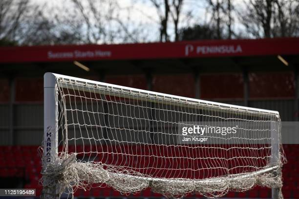 A general view of a goal inside the stadium prior to the Vanarama National League match between Salford City and Dover Athletic at Peninsula Stadium...
