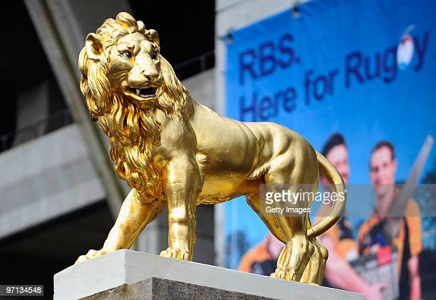 A general view of a golden lion prior to the RBS Six Nations match between England and Ireland at Twickenham Stadium on February 27 2010 in London...