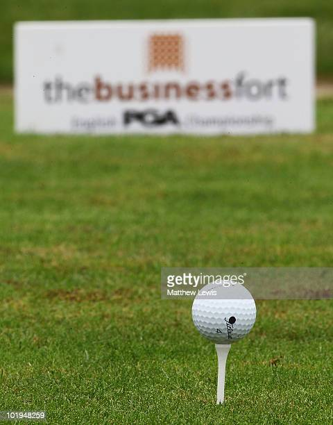 A general view of a golf ball on a tee during the Business Fort plc English PGA Championship Regional Qualifier at Wychwood Park Golf Club on June 10...