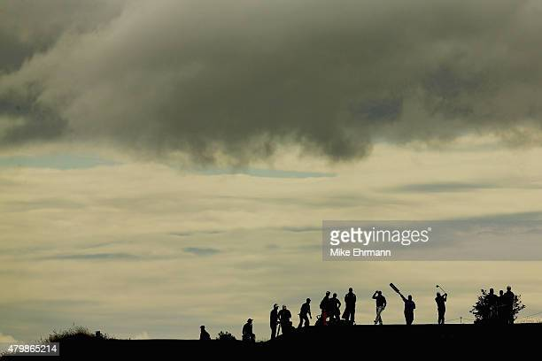 A general view of a golfer hitting a tee shot on the second hole is seen during the ProAm prior to the start of the Aberdeen Asset Management...