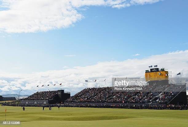 General view of a grandstand on the first hole is seen during the third round of the 144th Open Championship at The Old Course on July 19, 2015 in St...