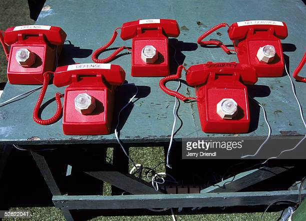 General view of a group of telephone sitting on a table on the sidelines prior to the NFL Pro Bowl on February 13 2005 at Aloha Stadium in Honolulu...