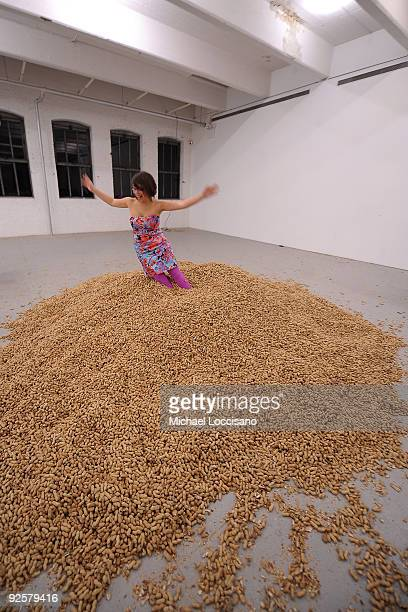 General view of a guest playing the pile of peanuts during the Performa 09 Opening Night Benefit Dinner at X Initiative on October 30 2009 in New...