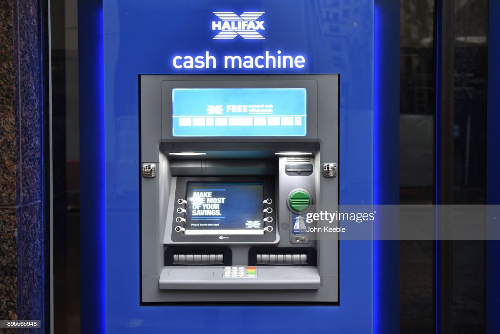 A general view of a Halifax Bank ATM cash machine which offers free cash withdrawals on December 16, 2017 in London, England.