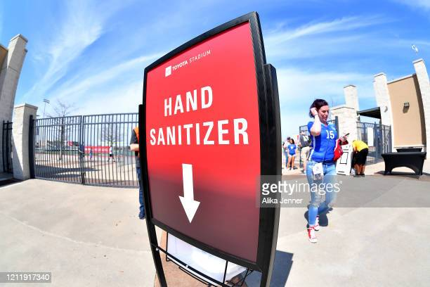 General view of a hand sanitizer station to help combat the Coronavirus before the SheBelieves Cup match at Toyota Stadium on March 11, 2020 in...