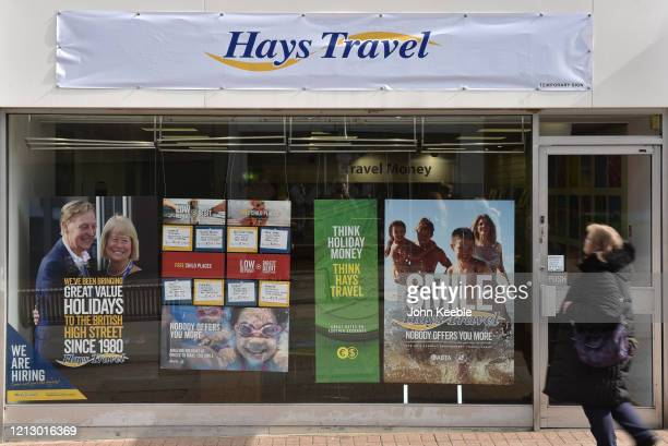 General view of a Hays Travel agents shop on the high street on March 17, 2020 in Southend on Sea, England. Hays Travel is asking staff to take...