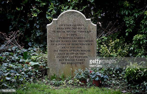A general view of a headstone in St Bartholomew Church where Alfred The Great is believed to be buried on February 6 2013 in Winchester England King...