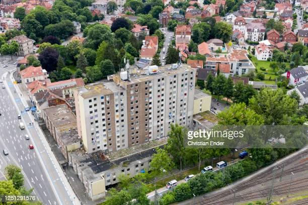 General view of a high-rise apartment building struck by a Covid-19 outbreak on June 22, 2020 in Goettingen, Germany. Authorities have placed the...