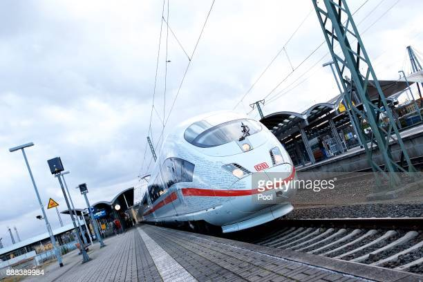 A general view of a highspeed ICE train of German state rail carrier Deutsche Bahn on the newlycompleted stretch between Munich and Berlin on...