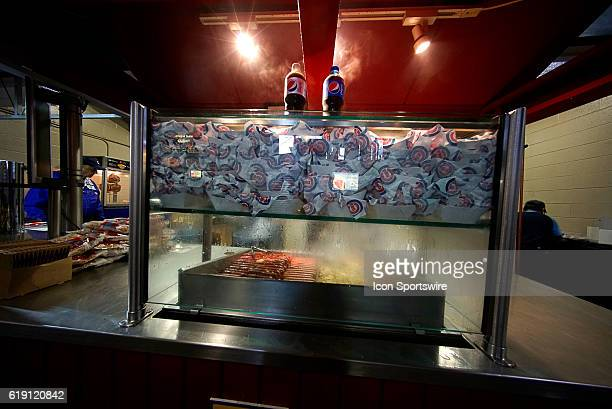 A general view of a hot dog stands inside of Wrigley Field prior to the start of the 2016 World Series Game 3 between the Chicago Cubs and Cleveland...