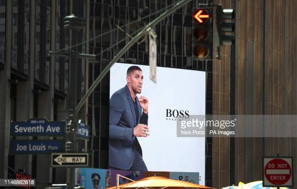A general view of a Hugo Boss advert featuring Anthony Joshua outside Madison Square Garden in New York