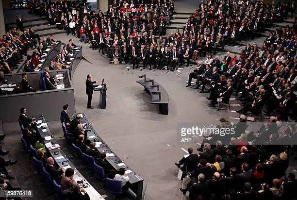 General view of a joint session of the French National Assembly and the Bundestag at the German lower house of Parliament as French President...