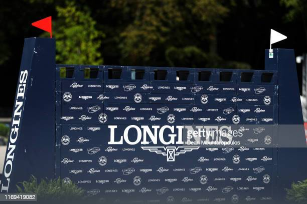 A general view of a jump during Day 3 of the Longines FEI Jumping European Championship speed competition against the clock presented by Rabobank at...