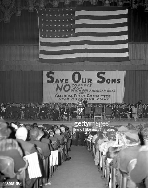 General view of a large crowd attending the America First Committee rally circa 1941 in New York, New York. The AFC was the pressure group against...