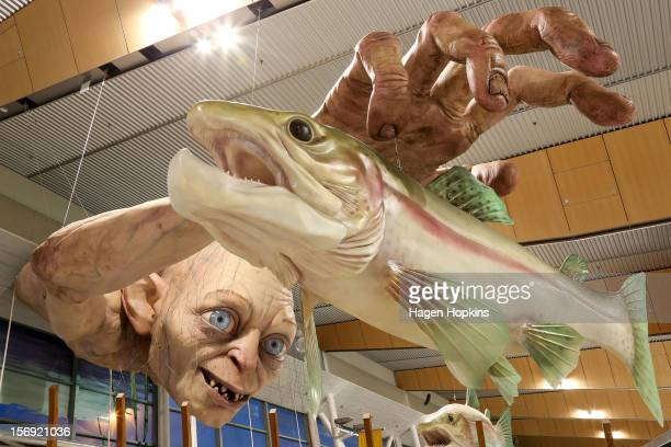 "General view of a large Gollum sculpture installed by Weta ahead of the ""The Hobbit: An Unexpected Journey"" world premiere at Wellington Airport on..."