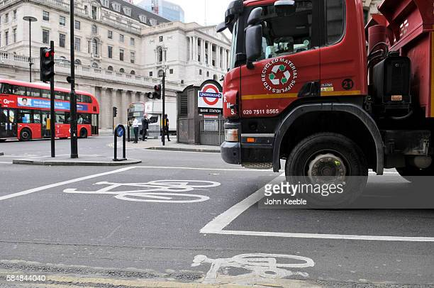 A general view of a large lorry next to a cycle lane while stopped at traffic lights on the junction at Bank by the Bank of England on July 28 2016...