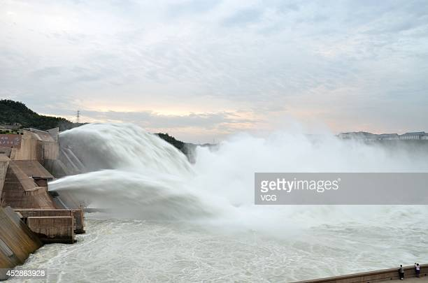 A general view of a large volume of water transfer at Xiaolangdi Dam on July 3 2014 in Jiyuan Henan province of China