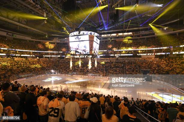General view of a laser light show before the first period in Game Two of the Eastern Conference Final in the 2017 NHL Stanley Cup Playoffs between...