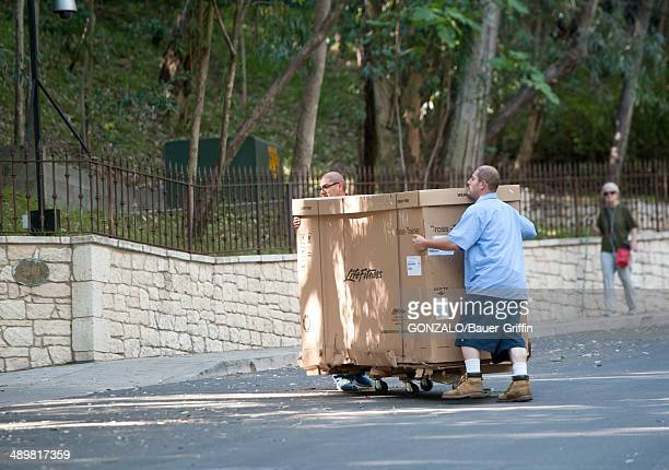 General view of a Life Fitness exercise machine delivery at the reported Studio City home of George Clooney on May 12, 2014 in Los Angeles,...