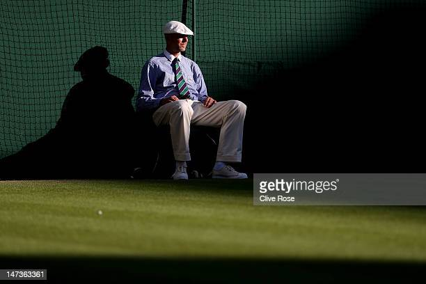 A general view of a line judge on day four of the Wimbledon Lawn Tennis Championships at the All England Lawn Tennis and Croquet Club on June 28 2012...