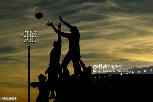 General view of a line out at sunset during the 2015 Rugby World Cup Pool C match between Tonga and Namibia at Sandy Park on September 29, 2015 in...
