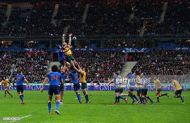 A general view of a line out during the International match between France and Australia at The Stade De France on November 15 2014 in Paris France
