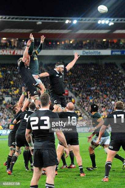 General view of a line out during The Rugby Championship match between the New Zealand All Blacks and the South Africa Springboks at Westpac Stadium...