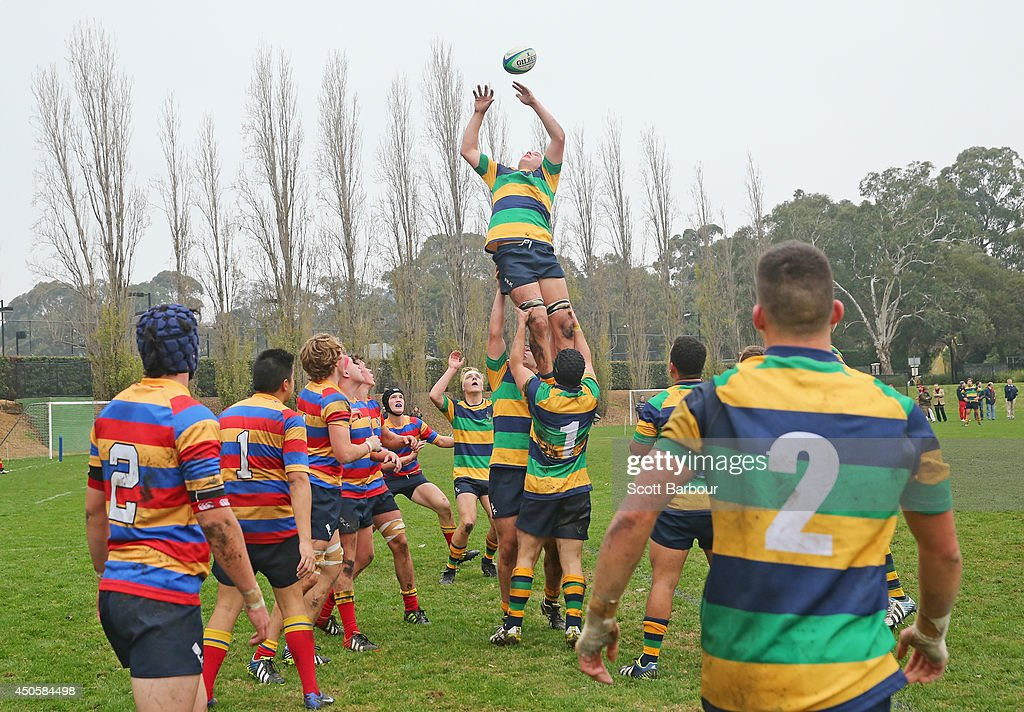 A general view of a lineout as Australian Wallabies coach Ewen McKenzie (unseen) attends St Kevin's College to watch the St. Kevin's College v Scotch College rugby match on June 14, 2014 in Melbourne, Australia.