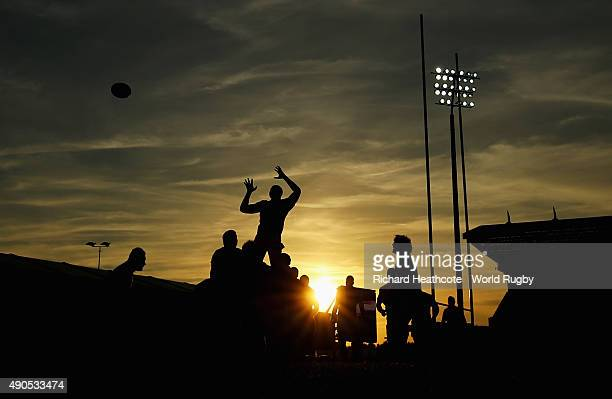 A general view of a lineout as the sun goes down during the 2015 Rugby World Cup Pool C match between Tonga and Namibia at Sandy Park on September 29...