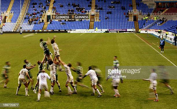 General view of a lineout during the Amlin Challenge Cup match between London Irish and Bordeaux Begles at Madejski Stadium on January 19, 2013 in...