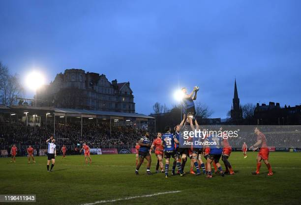 General view of a lineout during the Gallagher Premiership Rugby match between Bath Rugby and Sale Sharks at the Recreation Ground on December 28,...